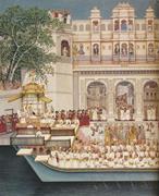 Attributed to Pannalal and Chhaganlal,  Maharana Bhupal Singh Celebrating t...