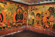 Southwest corner of Akaniṣṭha Shrine, showing Amoghasiddhi (3.8), west end ...