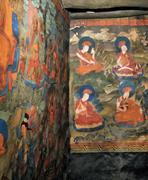 Arhats (on left wall) and Drukpa Kagyu <b>lineage</b>, in Lama Lhakhang, Chemre Mo...