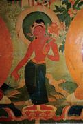 Paṇḍara-vāsinī(?) between Ratnasambhava and Akṣobhya (detail of  Figure 10 ...