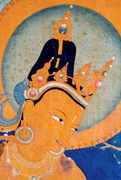 Mañjuśrī (detail), <b>south</b> side of west wall of Akaniṣṭha Shrine (3.9), first...