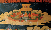 Upper palace of Akaniṣṭha Heaven with crowned Buddha (detail of  Figure 8 )...