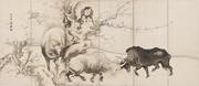Soga Shōhaku (Japanese, 1730–1781),  Oxen and Herdboys , 1760s. Pair of six...