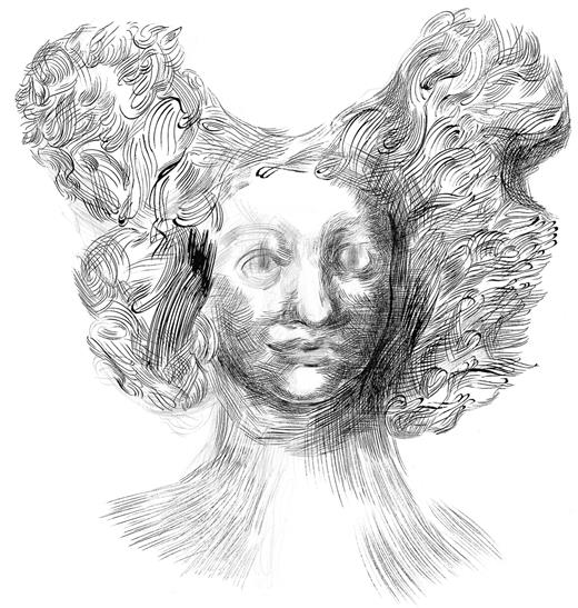 Woman with Ecstatic Hair, 2012, pen, ink, and pencil on paper, 22 × 30 inches