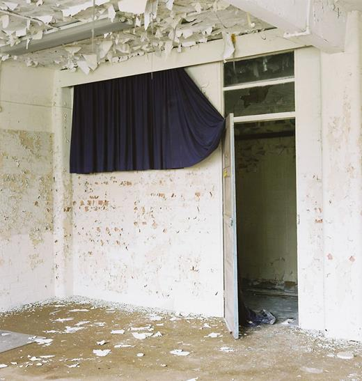 Curtain in projection room, ground floor, Block G. Photo: Gair Dunlop