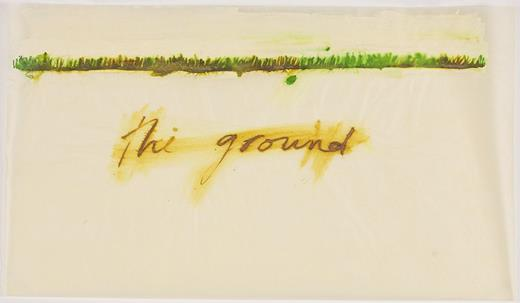 Mira Schor, The Ground, 2013. Ink and gesso on tracing paper, 18 × 30 in.