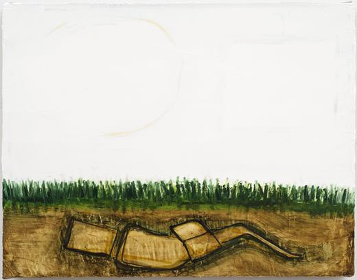 Mira Schor, Fallow Field 2, 2012. Oil and ink on gesso on linen, 14 × 18 in.