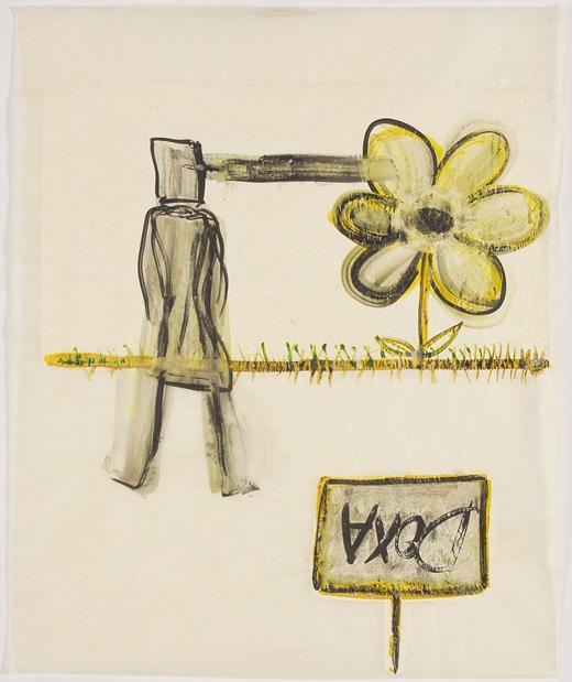 Mira Schor, Flower versus Doxa, 2013. Ink and gesso on tracing paper, 28 × 24 in.