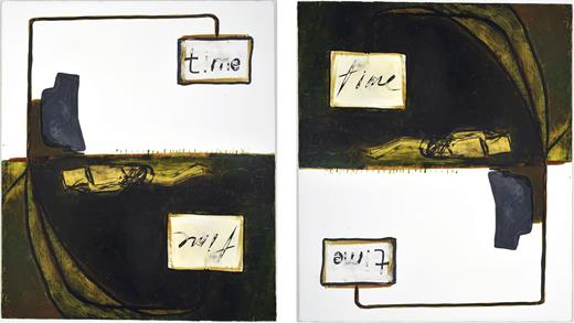 Mira Schor, Reversible Time, 2013. Ink and oil on gesso on linen, 28 × 24 in.