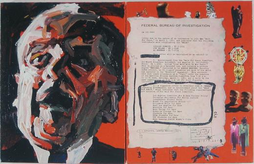 The FBI Files 56, 2003. Acrylic, Polaroids, and paper on canvas, 14 × 22 in. Collection of Glenn and Trish Zelniker, Gainesville, Florida