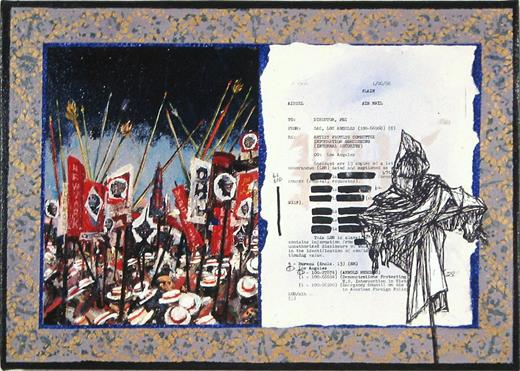 The FBI Files 31, 2002. Acrylic and paper on canvas, 14 ¾ × 20 ¾ in. Courtesy of the artist