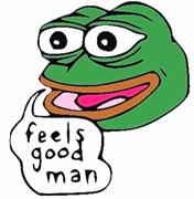 Feels good iteration of Pepe the Frog used as an example in a <b>blog</b> post by ...
