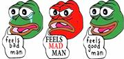 Feels bad, feels mad, feels good iterations of Pepe the Frog used as an exa...