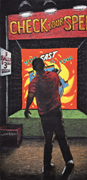 Check You <b>Speed</b> 3 Balls , 2005. Oil stick on linen, 83×40 in. Courtesy of t...
