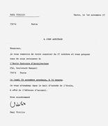 Letter from <b>Paul</b> <b>Virilio</b> to John Armitage, November 1997 (address partially...