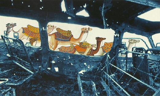 Roam: Riding on Remorse, 2008. Gouache on archival digital print on Hahnemühle paper, 6×10 in. Collection of Mary Lou Arscott, Pittsburgh. (Camels based on illustration by Bihzâd for Nizâmî's Layli and Manjûn in 1493 Khamsa, British Library.) Image courtesy of the artist