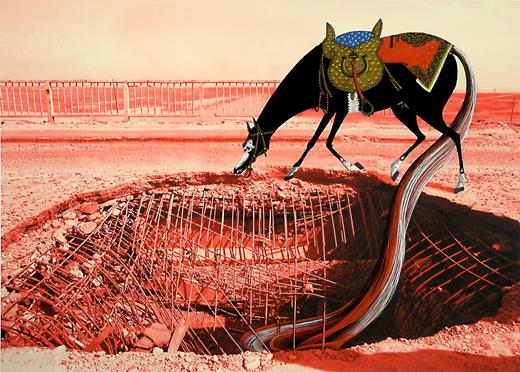 Replenish, 2010. Gouache on archival digital print on Hahnemühle paper, 10×14 in. (Horse based on Khusraw Discovers Shirin Bathing in a Pool, from a Khamsa by Nizâmî, mid-sixteenth-century Safavid dynasty from Shiraz, Iran. Altered photograph of a bridge in Mosul, Iraq.) Image courtesy of the artist