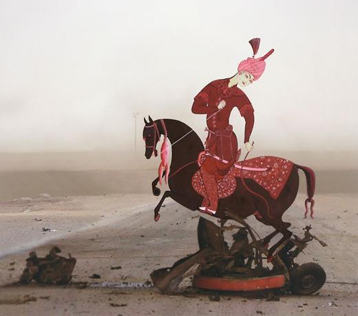 Rocking Horse, 2010. Gouache on archival digital print on Hahnemühle paper, 12×13.5 in. (Horseman drawn from Horseman and Groom, attributable to Qadîmî Qazvin, c. 1560, Arthur M. Sackler Museum, Harvard University, no. 1958.62.2. Altered photograph of southern Iraq.) Image courtesy of the artist