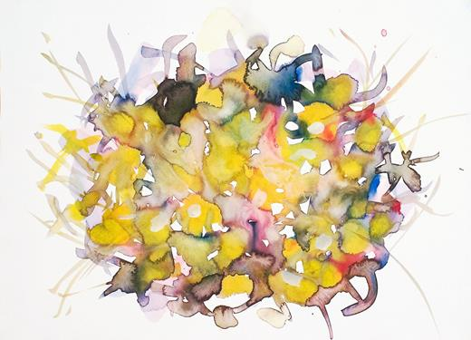 Nest 1, 2011. Watercolor on watercolor paper, 15 × 20.5 inches (unframed).
