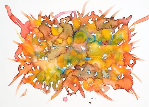 Nest 2, 2011. Watercolor on watercolor paper, 15 × 20.5 inches (unframed).
