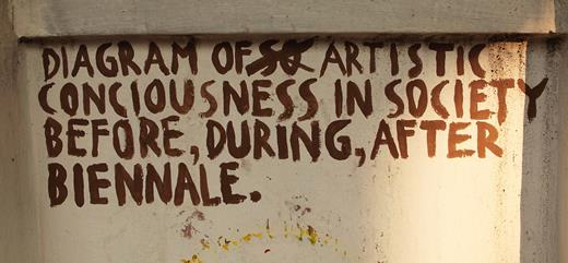 This hand-painted statement, artist unknown, on the exterior of a local wall in Fort Kochi was surrounded by several commissioned street art projects and acted as a potent device when you consider what the Kochi-Muziris Biennale's legacy might be for local artists. During the festival, other unofficial and spontaneous additions to the festival's sanctioned street art appeared, evidence of public activism and subcultural activity in a state with one of India's highest literacy rates, which itself is a product of the state's Communist education policies. Photograph courtesy of the author 2012