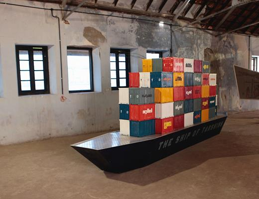 The Ship of Tarshish, by the Indian artist Prasad Raghavan at Aspinwall House. The title alludes to a Hebrew biblical reference to a place or city between which there was trade by sea. The backdrop to the sculpture is the country's newest international container terminal in Vallarpadam across the water. Photograph courtesy of the author 2012
