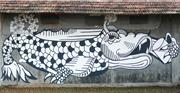 Dragonfish , a painted wall mural by Indian artist Anpu Varkey, becomes a m...