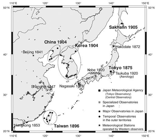 Map indicating locations and establishment years of the Japan Meteorological Agency, specialized and major Japanese observatories, temporal observatories in the outer territories, and other meteorological stations in East Asia