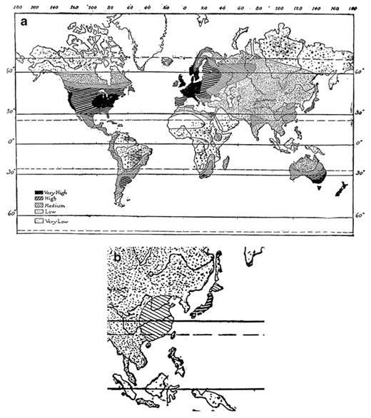 "a Map ""Degree of Civilization"" by Huntington; b Huntington's enlarged map of the East Asian region"