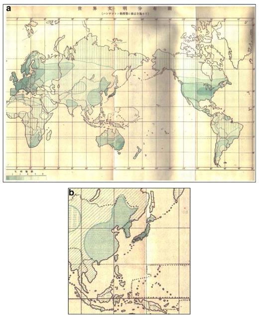 "a Map ""Degree of Civilization"" by Ogasawara; b Ogasawara's enlarged map of the East Asian region"
