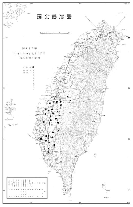A map showing the seismic zone of the earthquake of November 6, 1904. (Source: Omori 1906b, Fig. 65)