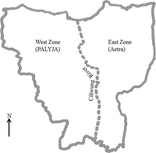 The areas of water concessions: Jakarta's East and West Zones. Redrawn by author based on information from PAM Jaya