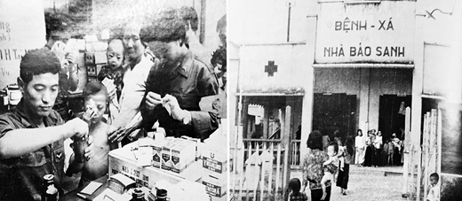 Left, Civic medical treatment group treating Vietnamese civilians. Right, A clinic built by Republic of Korea Construction Support Group at Lái Thiêu, Dĩ An. From the 1968 ROKFV pictorial issued to commemorate the third anniversary of South Korean participation in the war (ROKFV 1968: 70)