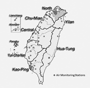 Map of seven air-quality zones in Taiwan. Sources: Taiwan Environmental Pro...