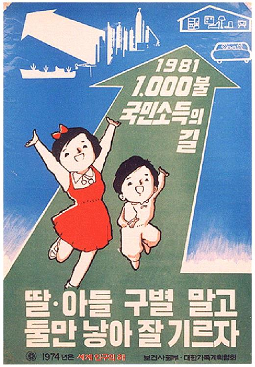 """A poster of family planning policy produced by the Ministry of Health and Social Affairs and Family Planning Association in 1974. At the end of the arrow, it says """"Way toward GNP $1,000 in 1981."""" There is a well-known slogan of """"Bringing Up Two Children, Whether Sons or Daughters"""" at the bottom of this poster"""