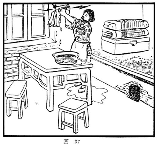 One typical imagination of gender roles in coping with electricity use is reflected in the enlightenment booklets in the early phase of electrification: a woman conventionally uses water to clean wires and light bulb. The way of coping with electricity means a serious risk of life. Source: Nongcun yongdian changshi wenda (Questions and answers concerning electricity use in rural), edited by the Electricity Bureau of Harbin. Harbin: Heilongjiang renmin chubanshe, 1964. Figure 37