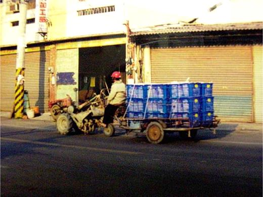 Cultivator with dray. Photo by the author at Chitong, Yunlin County