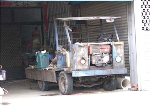 The reassembled car with cultivator engine. Photo by the author at Singon, Chiayi County