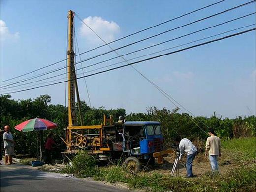 The reassembled car for drilling well. Photo by the author at Guken, Yunlin County