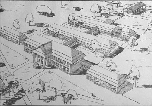 Drawing of the future laboratory and offices of the Lai Khe research center. (Source:IRCI 1942)
