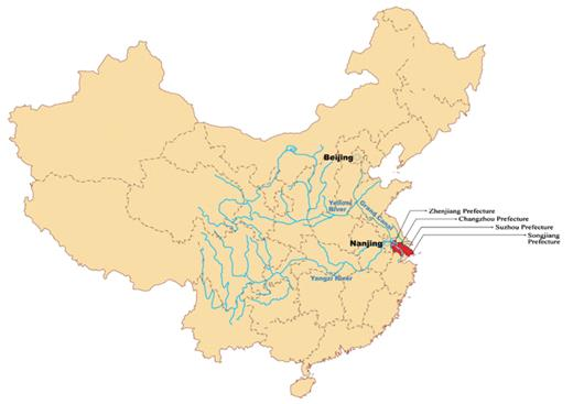 Map A China, with special attention to the major river systems and the location of the Lower Yangzi Delta (the red part)