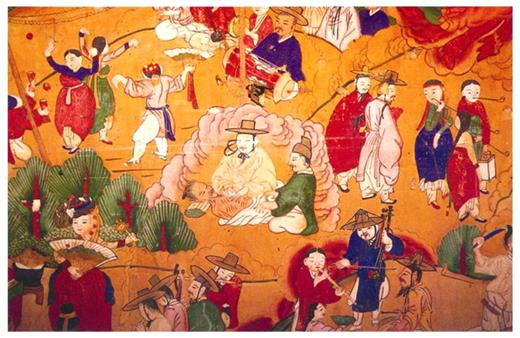 The doctor and patient in eighteenth Korea (Source: Kamrotaeng in Pulamsa)