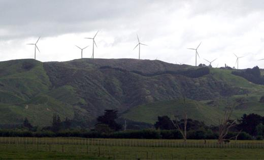 Visual impact of the Palmerston North wind farm on the scenic vista, taken by the author while on holidays in Aotearoa, New Zealand; December 2008