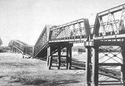 The Nagara <b>River</b> Railway Bridge, collapsed after the Great Nobi Earthquake ...