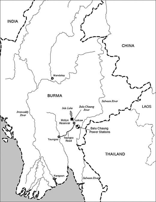 Map of the Balu Chaung hydropower project and surrounding areas (map by Chris Miller)