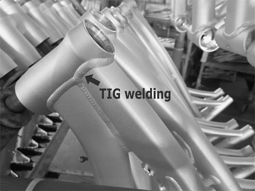 A close-up of TIG-welded bicycle frame. Photo courtesy of APRO TECH Co., Ltd., Taiwan. Notation added by the author