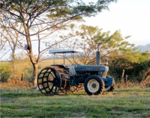A fangueo tractor retrofit with chopping blades (Photograph: © Suzanne J. Kelson)