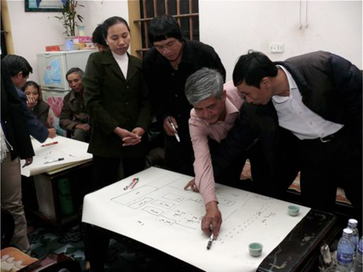A group of small-scale farmers map the location of poultry farms in their community, northern Việt Nam. Photo by author.