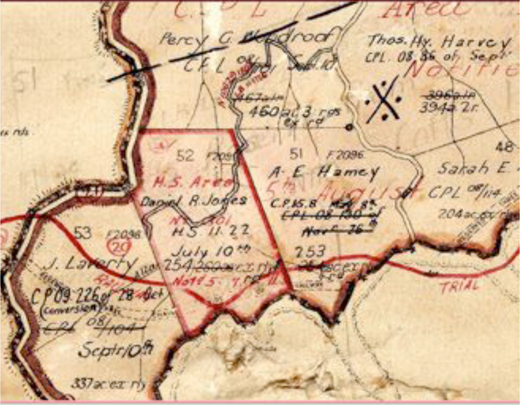 "Detail of historical parish map of Allan's Water, 1909 edition, showing portion 52 (Daniel R. Jones) and 51 (later held by the Manns family). Annotation ""H.S. Area Notd. 5.7.11"" indicates that Daniel Jones took up portion 52 as a Homestead Selection Area in July 1911. Used with permission.12"