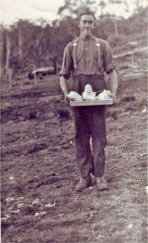 "Thorald Manns, c.1949, in his early 20s. ""We had a wonderful crop of potatoes that year with twenty tons to the acre.""41 Photo courtesy of Thorald Manns."